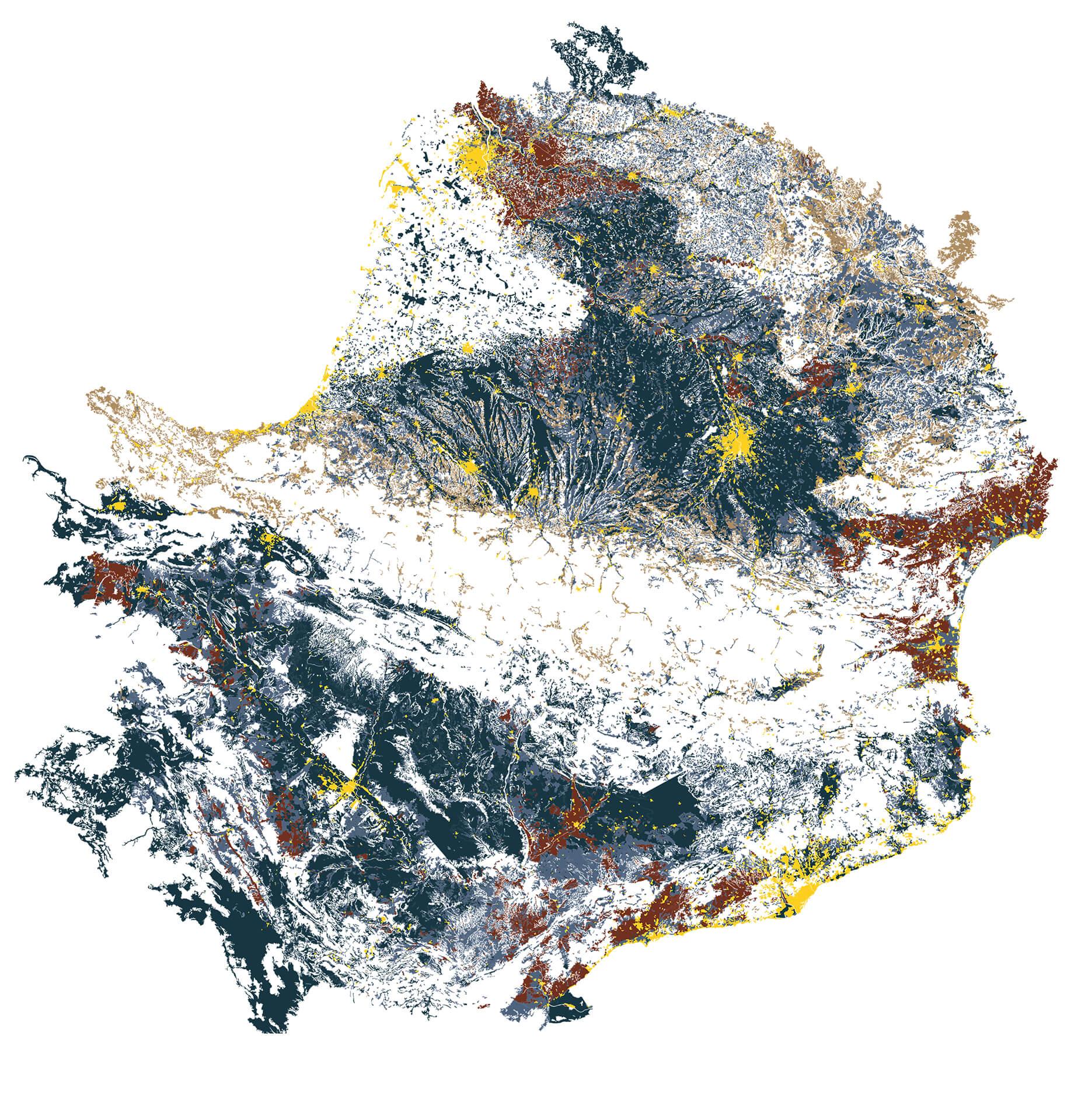 Carte des Pyrénées représentant les occupations du sol liées à l'activité des hommes. Une ligne émerge par l'absence de celles-ci marquant un vide.