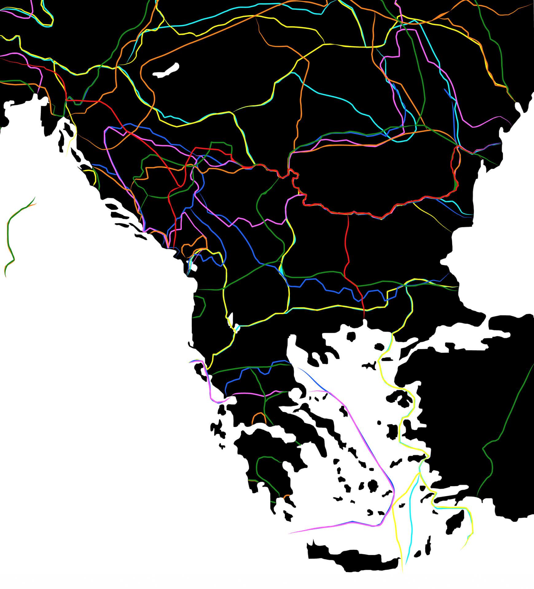 Carte représentant l'ensemble des principales frontières des Balkans depuis l'empire romain jusqu'après la seconde guerre mondiale.