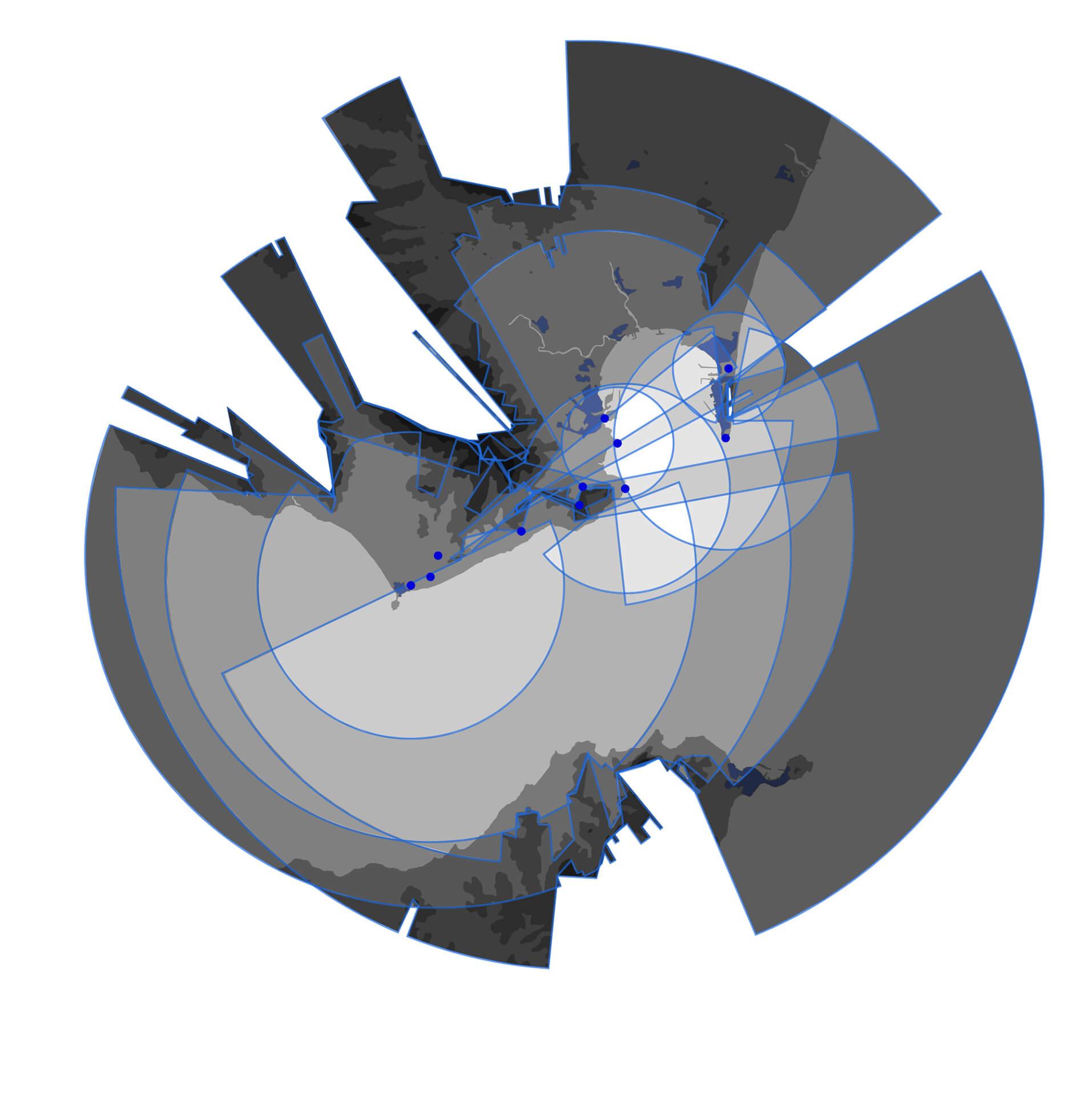 Carte d'observatoires du monde. Cette carte représente les horizons théoriques qu'un observateur aurait à chacun de ces observatoires.