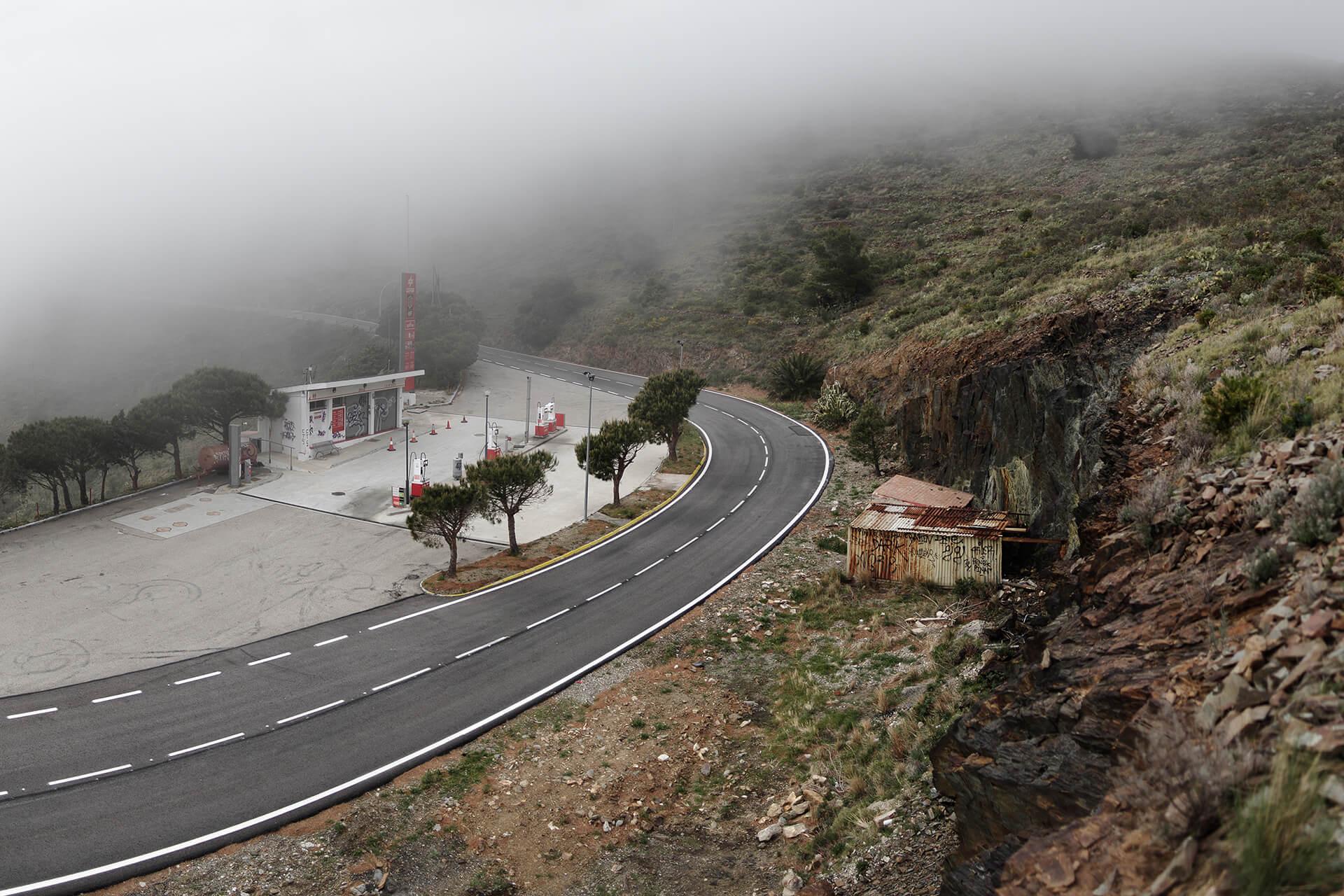 À Portbou, la première station essence, à la frontière Franco-Espagnole en venant de France.
